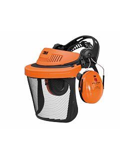Zahradnický oranžový set štít+sluchátka