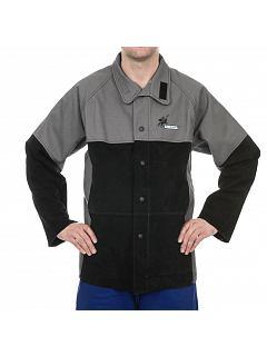 Kožený kabát svářečský šedo-černý