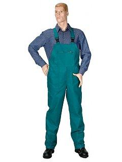 Kalhoty s náprsenkou dámské zelené
