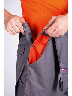 Kalhoty Desman s laclem šedo-oranžové