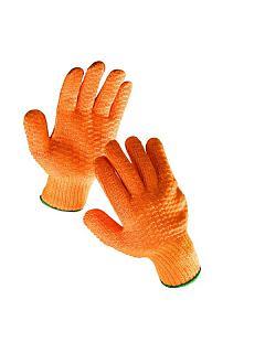 Rukavice FALCON pletené oranžové - gumová mřížka
