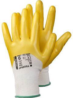 Rukavice syntetická nitril máčená 3/4 PES žlutá