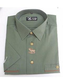 Košile krátký rukáv zelená, výšivka jelena