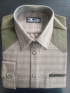Košile flanel zelená kostka manšestrové sedlo