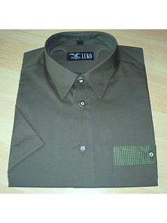 Košile krátký rukáv tmavě zelená