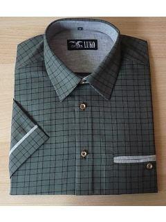 Košile tm.zelená kostka krátký rukáv